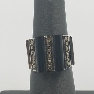 Jewelry - Sterling Silver Ring with Pave Marcasite/Onyx